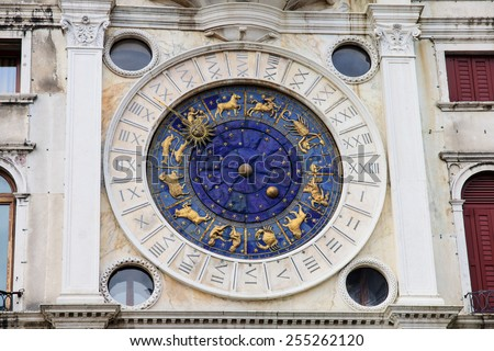 The Clock Tower in Piazza San Marco, in Venice, Veneto, Italy