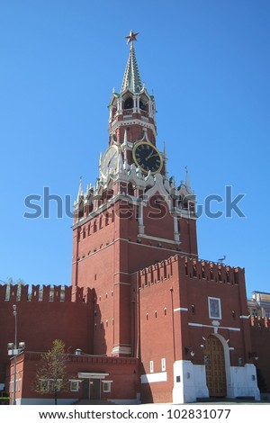 The clock tower of red square in the center of Moscow is part of the Kremlin wall, built by IVan the terrible in the sixteenth century and is a UNESCO site.
