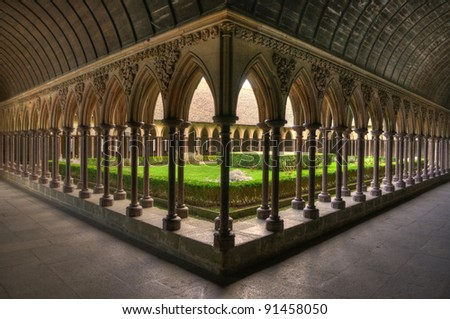 The cloisters at Mont St. Michel - stock photo