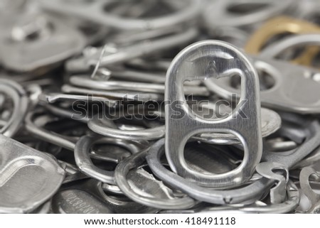The close up image of ring pull aluminium of cans - stock photo