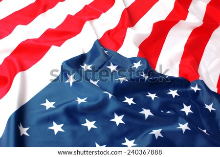The Close up of American flag - stock photo