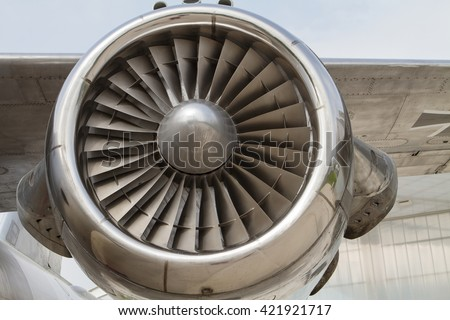 the close up of an airplane engine