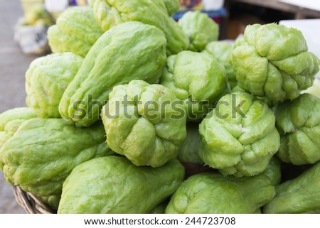 The close-up of fresh chayote. - stock photo