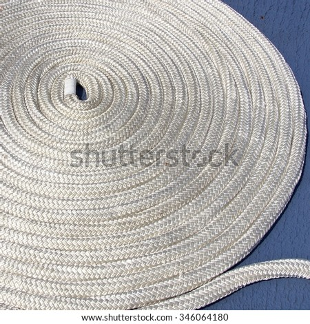 The close view of rope on the ship deck - stock photo