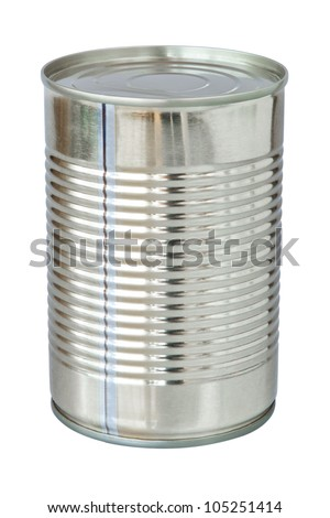The closed tin cans. On a white background. - stock photo