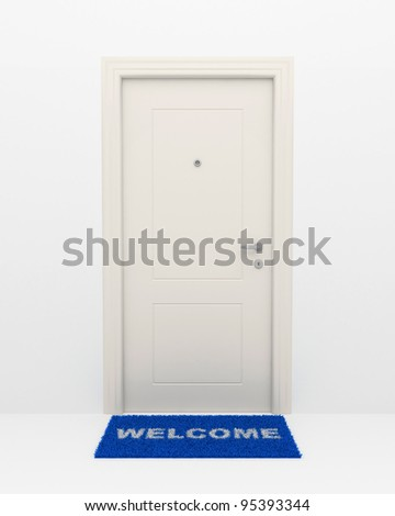 The closed white door and blue rug with an inscription: Welcome. - stock photo