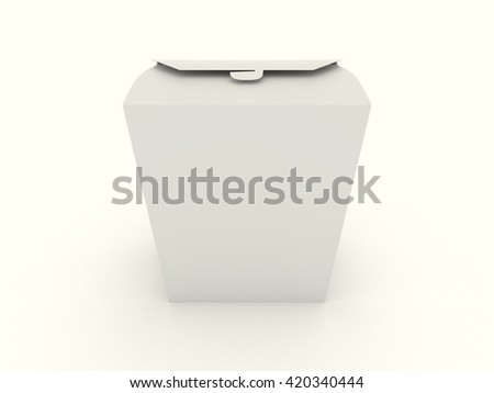 The closed white wok box mock up with blank. Package mockup for design isolated on white background. Asian package for food, rice, noodles, potatoes fastfood. Realistic high resolution 3d illustration - stock photo