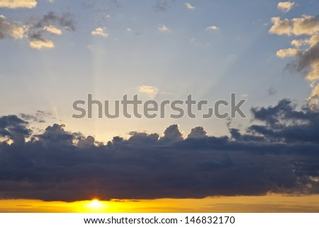 The clouds in the sky and the sun during sunset