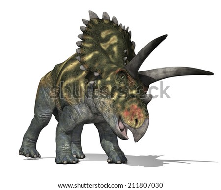 The Coahuilaceratops dinosaur lived in Mexico during the Late Cretaceous Period - 3D render. - stock photo