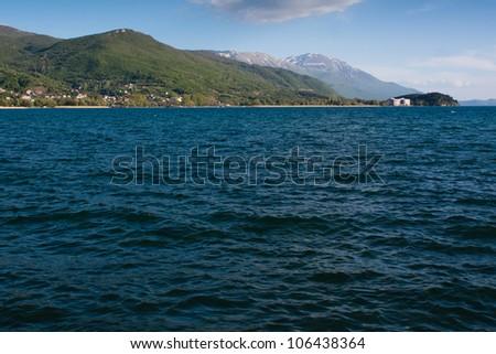 The coast line of lake Ohrid in Macedonia - stock photo