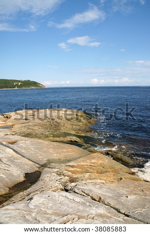 The coast near Tadoussac on river Saint Lawrence. Quebec, Canada.