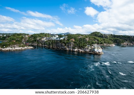 The coast nearby Bergen city in Norway - stock photo