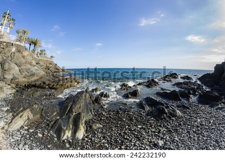 The coast of Atlantic ocean, Gran Canaria, Canary islands, Spain - stock photo