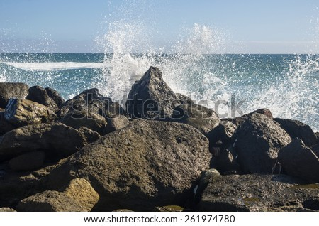 The coast of Atlantic ocean, Gran Canaria, Canary islands, Spain - stock photo