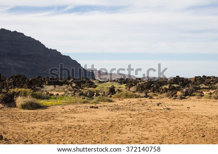 The coast of Atlantic ocean near town Orzola on Lanzarote, Canary islands, Spain