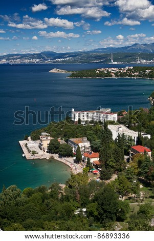 the coast of city Omisalj - Croatia - stock photo