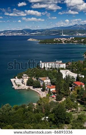 the coast of city Omisalj - Croatia - stock photo
