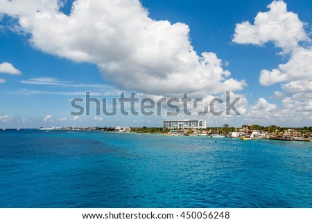 The coast of Cozumel in Mexico from the sea - stock photo