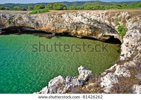 The coast of Gargano national Park, near Sfinale, in Apulia, Italy. - stock photo