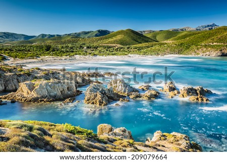 The coast of the Desert des Agriates and Ostriconi beach in north Corsica - stock photo