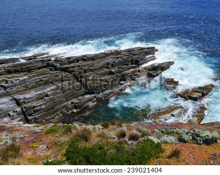 The coast with the ocean of Flinders Chase a national park on Kangaroo Island in South Australia - stock photo