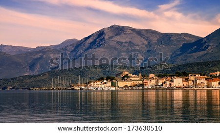 The coastal town of St Florent in northern Corsica - stock photo