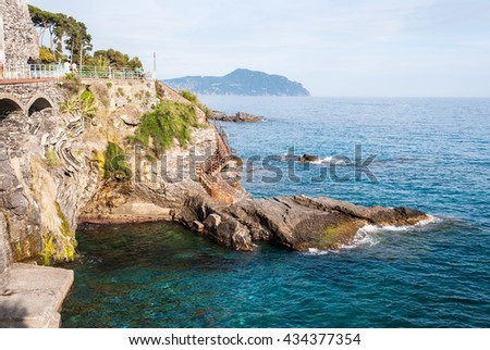 The coastline in Nervi, a sea district of Genoa - stock photo