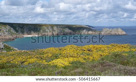 The coastline of Cornwall in far south west england