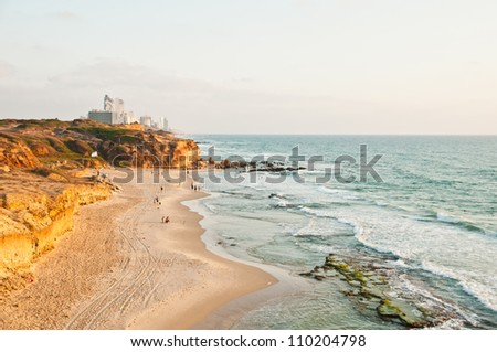 The coastline of Netanya (near Tel aviv), Israel - stock photo