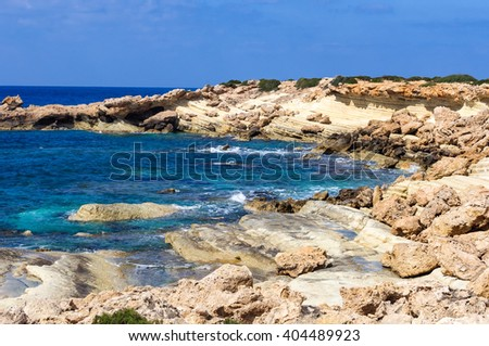 The coastline of the beautiful beach on the Mediterranean Sea.