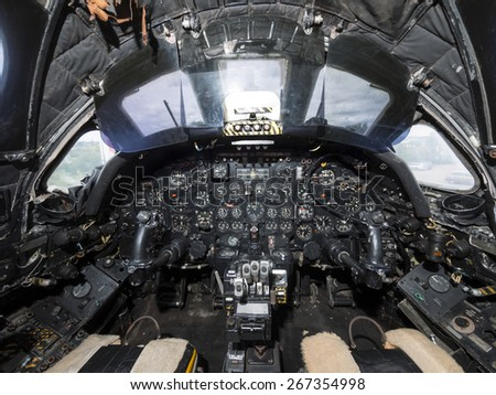 the cockpit of a 1960s vintage RAF Vulcan V-bomber. taken 26/09/2014 - stock photo