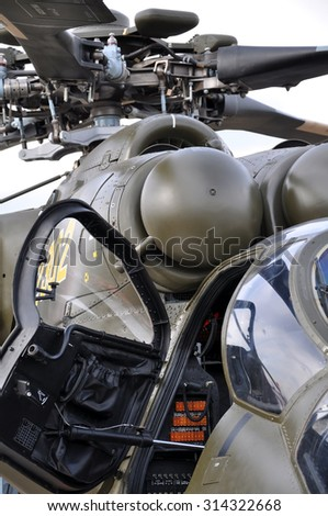 The cockpit of the helicopter - stock photo