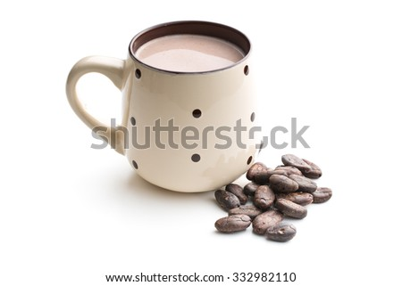 the cocoa drink and cocoa beans on white background - stock photo