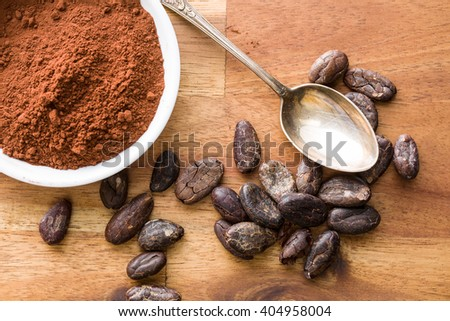 the cocoa powder in bowl - stock photo