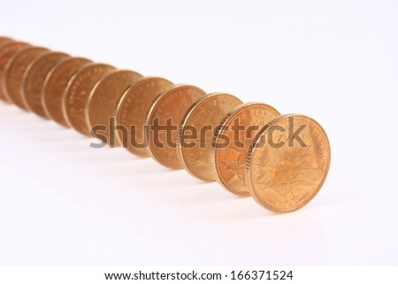 The coin like Domino isolated on white background - stock photo