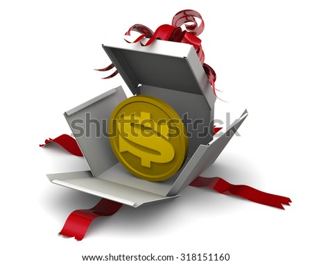 The coin with the symbol of the US dollar lies in an open gift box. Money as a gift. Concept