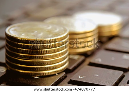 The coins in the columns . The concept of reducing or increasing income
