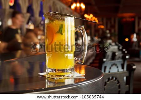 The cold fresh lemonade at the bar - stock photo