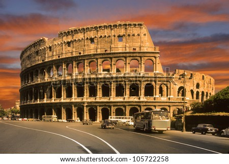 the coliseum at sunset in Rome - stock photo