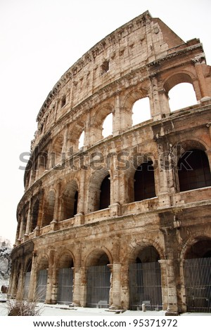 The Coliseum covered by snow, a really rare event in Rome