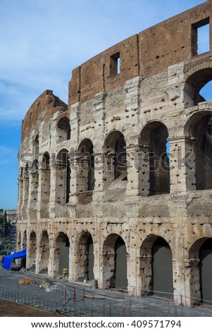 The Coliseum in old Rome, Italy