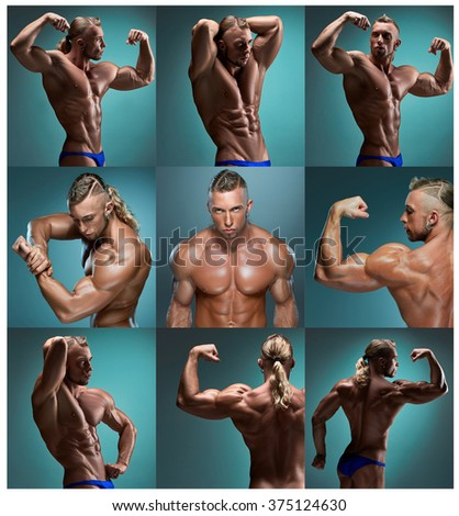 The collage from images of attractive male body builder  - stock photo