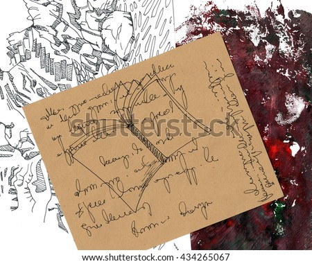 The collage with the sketched opened book and landscape made with the different paper and applique work on the abstract red background