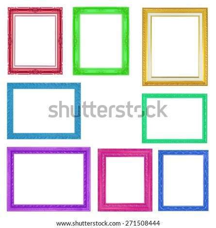 The collection colorful frames on the white background - stock photo