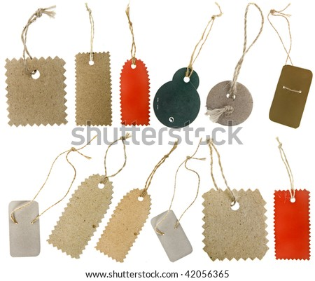 The collection of blank tags with string isolated on white background - stock photo