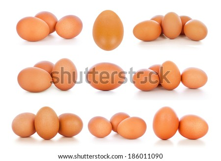 The collection of brown eggs, isolated on white  - stock photo
