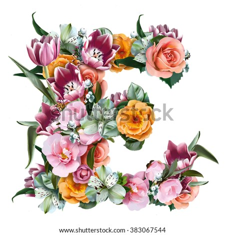 the collection of flowers and letters, collected from various elements of colour, perfect for festive greeting cards, labels, banners. Isolated on white background. The Letter E - stock photo