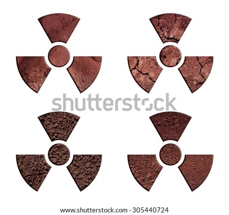 The collection of radiation warning symbols, made of soil.