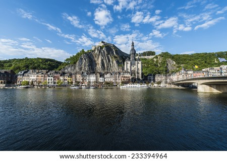 The Collegiate Church of Notre-Dame is the most important landmark of Dinant, located in the Waloon region, Belgium - stock photo