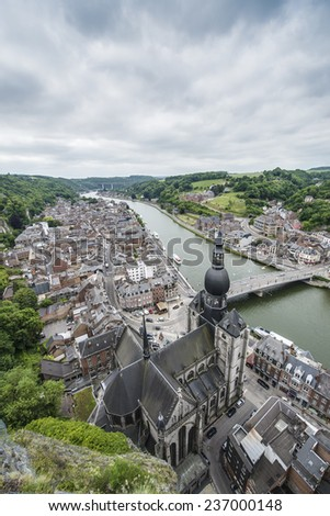 The Collegiate Church of Notre-Dame is the most important landmark of Dinant, located in the Waloon region, Belgium